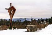 At Mountain Marienberg, Cross with Jesus — Stock Photo