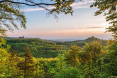 Giechburg Castle and Guegel Chapel in Mai in Upper Franconia during sunset — Stock Photo