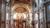 BAD STAFFELSTEIN, BAVARIA GERMANY - SEPTEMBER 30 2013 Interior Shot of the famous pilgrimage church of the fourteen helpers in need Vierzehnheiligen on SEPTEMBER 30 2013 near Bad Staffelstein — Stock Photo