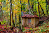 Lovely Idyllic Old Water House in Autumn Bavaria, Germany Europe Colorful Leaves in Fall in the Forest at a Creek in October — Stock Photo