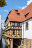 Half Timbered House on a River in Forchheim — Stock Photo