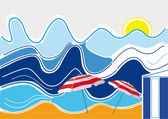 Waves and Beach — Stock Vector