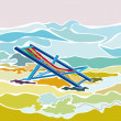 Stock Vector: Deck Chair on beach