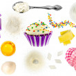 Collage of cupcake ingredients — Stock Photo