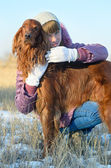The girl with a dog. — Stock Photo