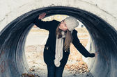 The girl in a tunnel. — Stock Photo