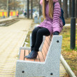 Girl on bench. — Stock Photo #39352549