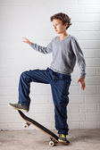 Cool Boy on his skateboard — Stock Photo