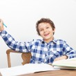 A boy is doing his homework — Stock Photo