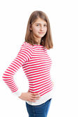 Teenage Girl with long hair and white pink striped shirt — Stock Photo