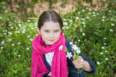 Young girl in a forest — Stock fotografie