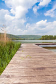 Pier at Lake Echternach in Luxembourg — Stock Photo