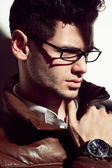 Young handsome man wearing fashion eyeglasses — Stock Photo