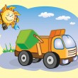 Stock Vector: Garbage-truck and sun