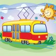 Fun tram and the sun — Stock Vector