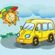 Fun yellow minibus and the sun — Stock Vector