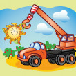 Fun truck-crane and the sun — Stock Vector