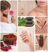 Spa collage of a beautiful woman relaxing — Stock Photo