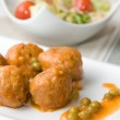 Meatballs with peas sauce and salad — Stock Photo #30473145