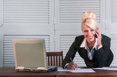 Business woman with compute — Stock Photo