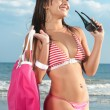 Stock Photo: Beautiful girl with bikini at seaside