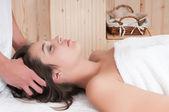 Woman having a relaxing massage — Stock Photo
