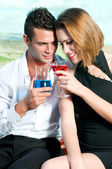 Couple of lovers drinking — Stock Photo