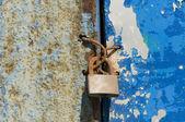 Old and wet iron door with padlock — Стоковое фото