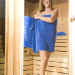 Woman with blue towel — Foto de Stock