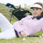 Beautiful woman golf player — Stock Photo