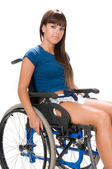 Handicapped woman on wheelchair — Stock Photo