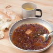 Bean soup in camping — Stock Photo