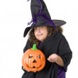 Child with halloween pumpkin — Stock Photo
