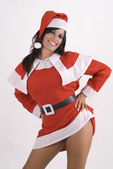 Woman wearing santa claus clothes — Stock Photo