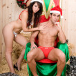 Sexy santa claus couple — Stock Photo #36295361