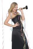 Donna con abito elegante — Foto Stock