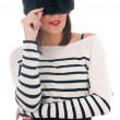 Foto de Stock  : Girl in a striped blouse and fur hat