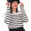 Girl in a striped blouse and fur hat — Φωτογραφία Αρχείου #38090817