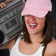 Womwith retro Boom Box — Stock Photo #38090951