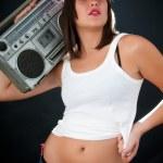 Woman with retro Boom Box — Stock Photo #38091027