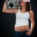 Woman with retro Boom Box — Stock Photo #38091095