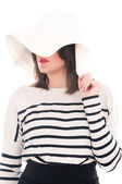 Women in white hat — Stock Photo