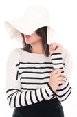 Woman in white hat — Stock Photo