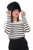 Girl in a striped blouse and fur hat — Foto de Stock