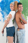 Couple painting at home — Foto Stock