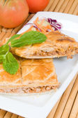 Cake of puff-pastry and meat or pie empanada — Stock Photo