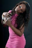 Black woman singer in the recording studio — Stock Photo