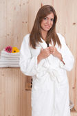 Woman with bathrobe — Stock Photo