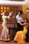 Traditional flamenco dresses dance during the Feria de Abril on April Spain — Stock Photo