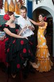 Traditional flamenco dresses dance during the Feria de Abril on April Spain — Stock Photo